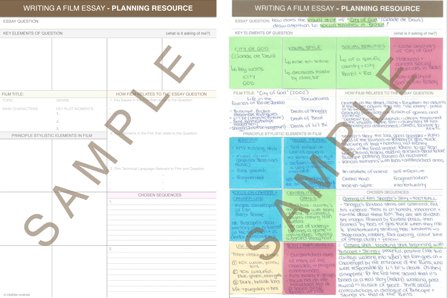 Writing a Film Essay_Planning Sample